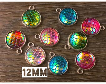 12mm Colorful Rainbow Mermaid Dragon Fish Scales Cabochons Silver Tone Pendant Charms - 10pcs