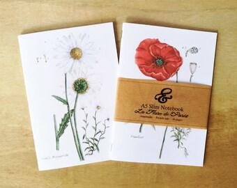 2 A5 handmade botanical La Flore de Paris dot grid 100gsm notebooks