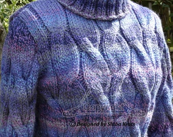 Hand Knitted Sweater, Chunky Cabled, Womens Sweater, Soft Womens Cabled Jumper, Polo Neck Sweater, Womens Knits, Handknitted Sweater
