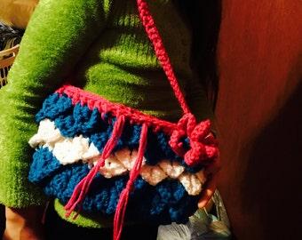 Child-size crocodile stitch purse