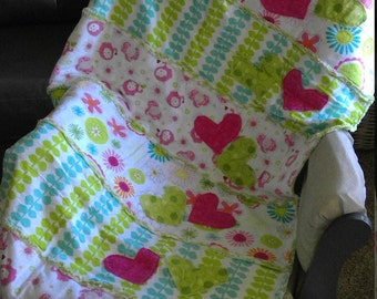 Little Girl Pink and Green floral/Elephant Crib Sized Rag Quilt