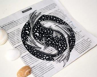 Zodiac Newsprint -Pisces Fish