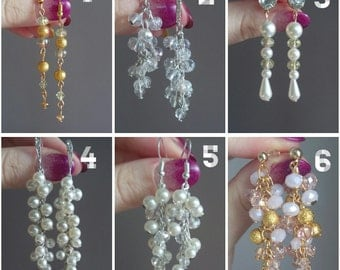 Earrings, pearl jewelry, long earrings, wedding earrings