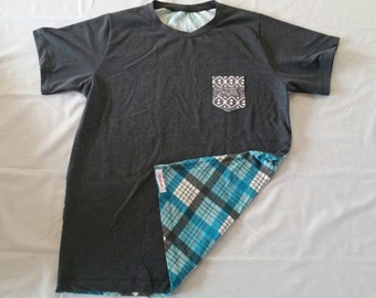 Men's Pocket Tee Shirt Large, charcoal gray, plaid, aztec