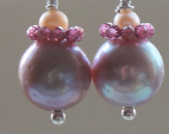 "Pearl Earrings ""Lavender"""