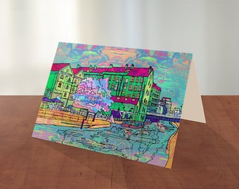 Nottingham Canal and Canal House Colourful, Bright and Fun Illustration on A6 Blank Greeting card with plain white envelope  by Issaka