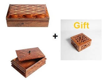 Pack of 2 boxes + (1 Gift ) : Shangai-Box + Exotism-Box, Thuya Wooden Jewelry Boxes Storage Morocco Crafts