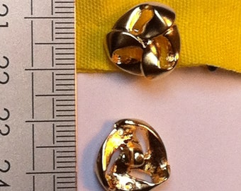 LOT small buttons Vintage gold Metal 16mm