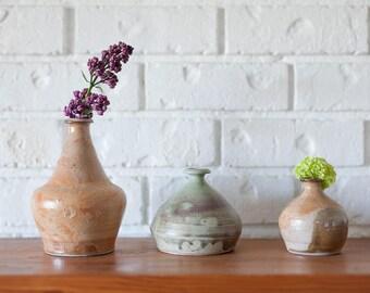 Vintage Studio Drip Glazed Set of Bud Vases