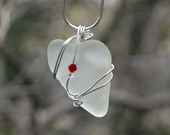 Heart Shaped Sea Glass Wrapped in Sterling Silver