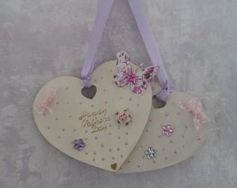Shabby Chic Double Heart Plaque