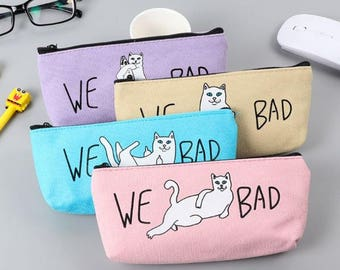 Bolso del lápiz travieso gato ~ gato malo lápiz, lápiz de Kawaii bolso, Gato lindo caso, material, bolsa de Scrapbooking, Gato divertido lápiz bolsa escolar