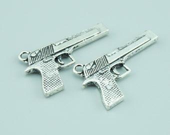 10pcs 20x35mm Antique Silver Gun Charm Pendants,Weapon Charm Pendants Z3162