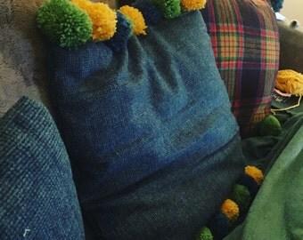 Homemade Pom Pom trim Cushion