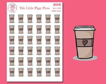 Neutral Coffee Cup Planner Stickers - Coffee Planner Stickers - Coffee Cup Stickers - Planner Stickers - [Bev 1-01 N]