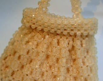 Vintage 1960's Chunky Beaded Oyster Handbag Purse