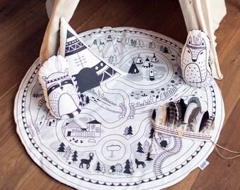 Baby Play Mat - Road Of Adventure || Original Design, Handmade Creation, road, round play mat, playmat, kids