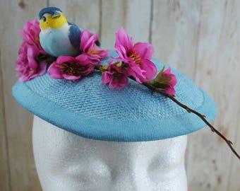 Women hat, Cherry Blossom Blue Bird, 1950s Kitsch Cocktail Hat, Unique Gift for sakura Lover, Wife Anniversary, Summer Wedding
