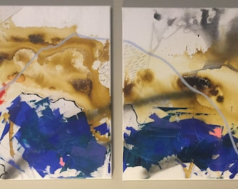 """Mixed Medium Abstract Diptych Painting """"Crossing Paths"""" 20x24 (a pair)"""