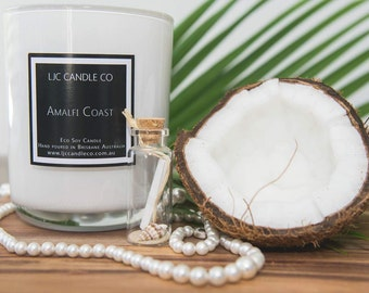 Small AMALFI COAST Soy Candle. 30 Hour burn time. Hand-poured.