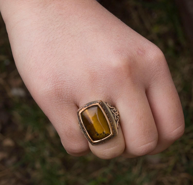 Sterling Silver Men Ring Handmade, Tiger Eye Stone, Express Shipping ...