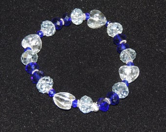 Crystal Heart and Blue Beaded Stretch Bracelet