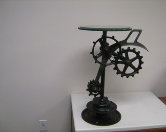 Steampunk, industrial end table