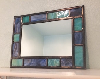 Bathroom stained glass mirror Purple and Aqua