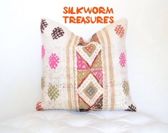 100% Wool 16 x 16 inch Handmade Cream and Multi-Colour Traditional Turkish Kilim Pillow Cover