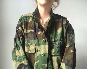 Vintage Camo Army Jacket with Patches