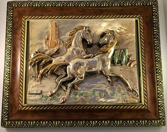 Stunning Italian Silver 925 Ceramic Picture - Galloping Horses - Framed -1960's