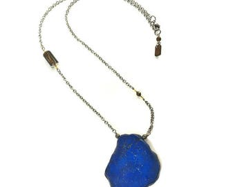 blue howlite ne klace, stainless steal and gold