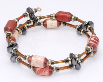Strength and Beauty (Upcycled Paper Bead Bracelet/SB0049)
