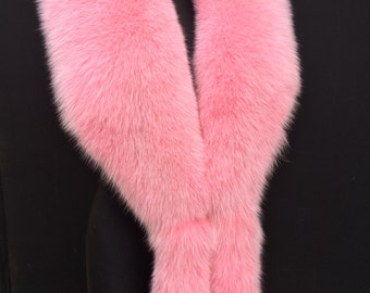 Pink Fox Fur Boa with Tails/Cuffs wristbands