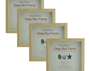 """A Pack of FOUR  8"""" x 8"""" (203mm x 203mm) Natural Wood Box frames - 17mm clear space. Great for Crafting and Scrapbooking."""