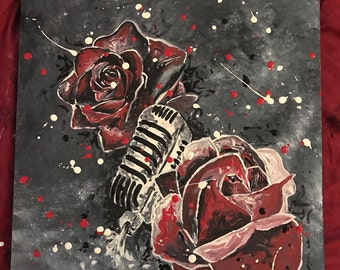 Painting on fabric Roses