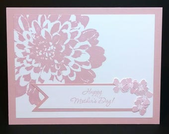 Mothers Day Card, Stampin Up Mothers Day Card, Handmade Card, Greeting Card, Card For Mom, Pink Flower, Happy Mothers Day Card