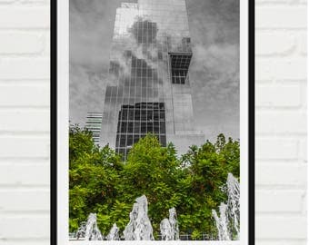 Urban glass building growing among trees and fountain - signed print