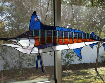 Stained Glass Blue Marlin