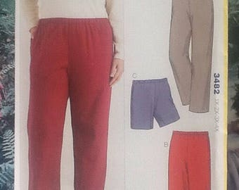 Kwik Sew 3482, sewing pattern, ladies plus sized pull on pants, trousers, shorts.