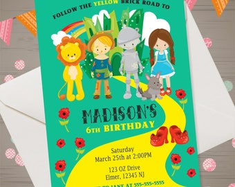 Wizard of Oz Invitation Wizard of Oz Birthday Invitation Wizard of Oz Birthday Party Ruby Slippers Invitation Dorothy Invitation Oz Party