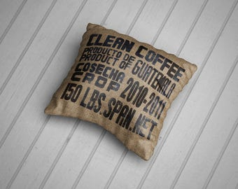 Coffee Sack Cushions. Hand Made in the UK, 100% Cotton. 45 cm. Hessian / Burlap Print.