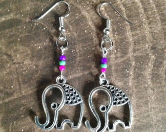Elephant Earrings - Tibetan Silver - Glass beads - Purple - Pink - Green
