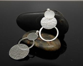Sterling Silver Circle Earrings , Modern Earrings , Sterling Silver Dangle Circle Earrings