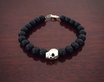 Mens matte onyx rock bracelet