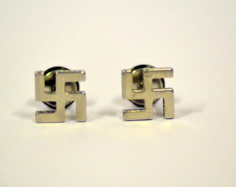 Pair of Hinduism, buddhism stud earrings (silver) 8mm good luck style 1