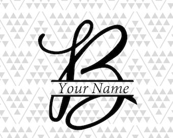 Monogram letter B, Split letter B, silhouette files, digital cut files, cricut files, adobe illustrator files, vector files, vinyl files cut