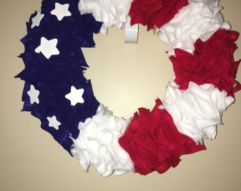 Red white and blue felt wreath