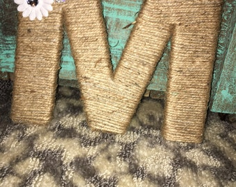 Twine wrapped monogram letters