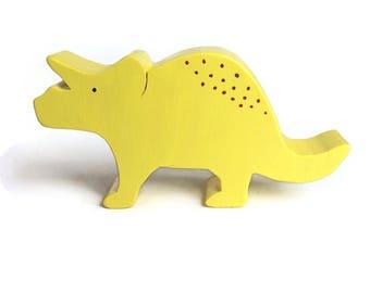 Toy dinosaur - wooden triceratops - eco friendly waldorf animal toy